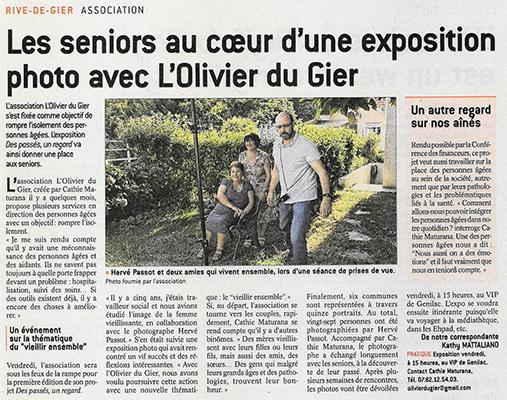 """Article presse, exposition photo """"Des passés...un regard"""", l'Olivier du Gier"""