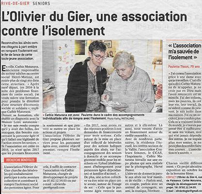 Article presse, l'Olivier du Gier.