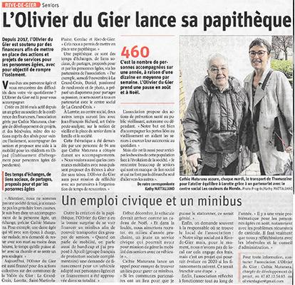 Article presse Papythèque, l'Olivier du Gier.